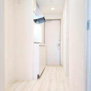 キッチン周りは白基調で清潔感あふれる◎