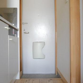 お部屋から玄関を。※写真は2階の同間取り別部屋のものです