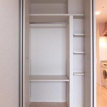 収納は一人暮らし向け。※写真は26階の同間取り別部屋のものです