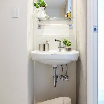 脱衣所に独立洗面台。緑を置いて置くのが気持ちいいな。※写真は2階の同間取り別部屋のものです。