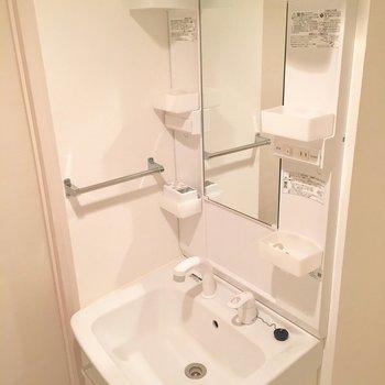 清潔感のある洗面台です。(※写真は1階の同間取り別部屋のものです)