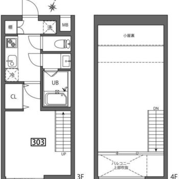 最上階でメゾネットのお部屋です。