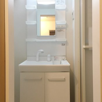 棚もたくさんある独立洗面台。※写真は3階の反転間取り別部屋のものです。