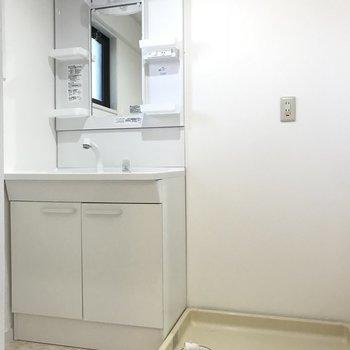 洗面台は大きくって朝の準備がしやすそう!洗濯パンもお隣に。
