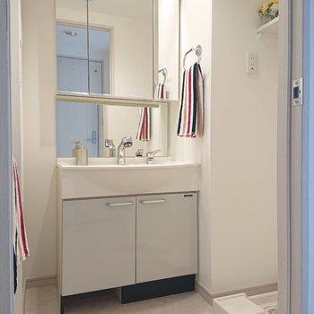 これ、鏡の範囲広くてすごくないですか!※写真の家具はサンプルとなります