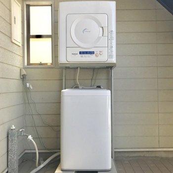 洗濯機は1階共用部にあり共用です。