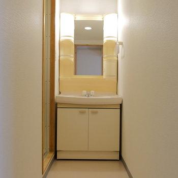 脱衣洗面所は縦に長〜い。