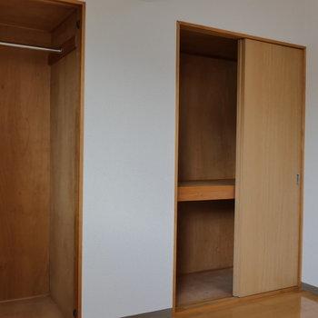 【北側洋室】クローゼットと押入れ収納。