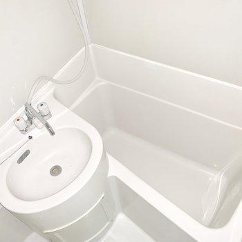 洗面台の丸みがキュート※写真はフラッシュを使用、前回募集時のものです