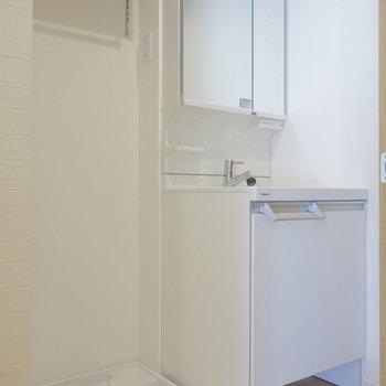脱衣所に独立洗面台と洗濯機置場。