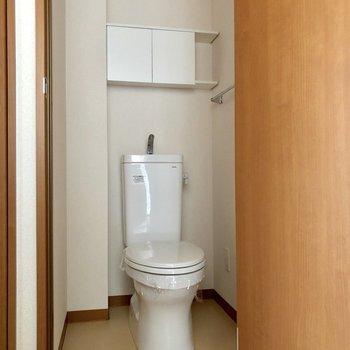 トイレはコンパクトな収納付きです
