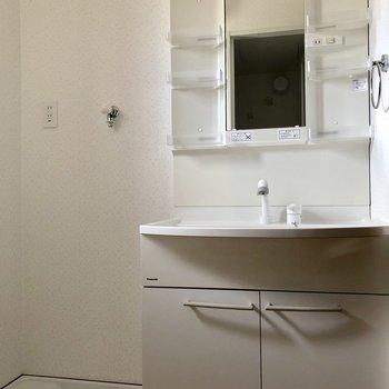 小物を仕舞える洗面台と洗濯機置き場が並んでいます