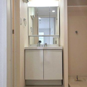 鏡の大きい独立洗面台。※写真は2階の同間取り別部屋のものです。