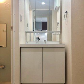 鏡の大きい独立洗面台。