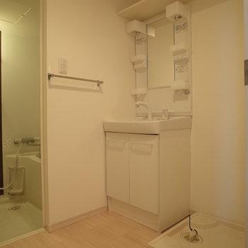独立洗面台は外せませんよね。※写真は1階の反転間取り別部屋のものです。