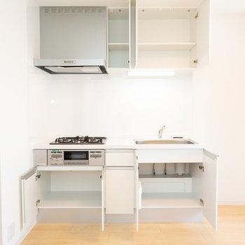 リニューアルされたガス3口のキッチン。収納力もOK。
