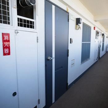 共用部の廊下や玄関ドアもリニューアル。かっこいです。
