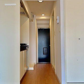 玄関へ続く廊下!扉がないのでカーテンつけたり