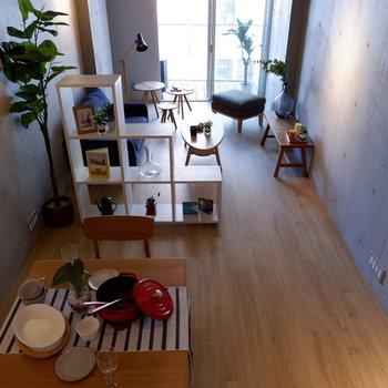 上から見るとこんな感じ。縦長ですよね。※写真は5階の同間取り別部屋のものです。
