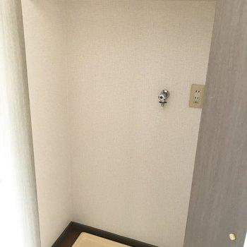 洗濯パンは収納の中に。※写真は9階の同間取り別部屋のものです