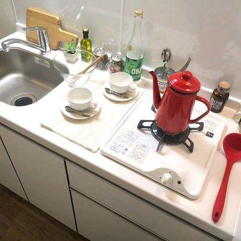 キッチンは1口ながらガスコンロ