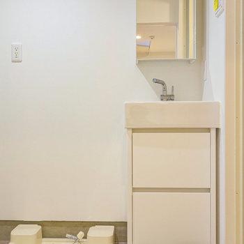 脱衣所に独立洗面台と洗濯機置場。※写真は前回募集時のものです