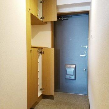 シュークローゼットは2つに分かれてて、用途分けにできるのが素敵!※写真は2階の同間取り別部屋のものです