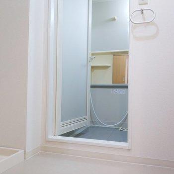 サニタリールームは左に洗濯パン、右に独立洗面台。※写真は2階の同間取り別部屋のものです
