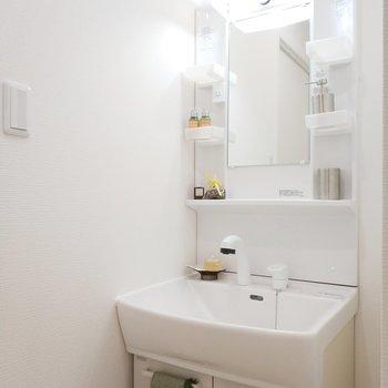 独立洗面台は収納もしっかり。