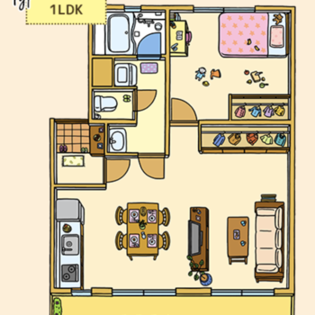 1LDKタイプのお部屋です