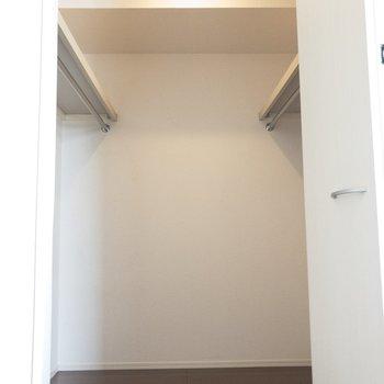 【洋室】スポットライトもあってお洋服の色がわかりやすいね。※写真は2階の同間取り別部屋のものです