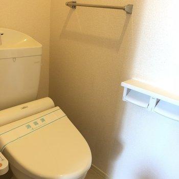 玄関入ってすぐ左手がお手洗いです。※写真は2階の同間取り別部屋のものです