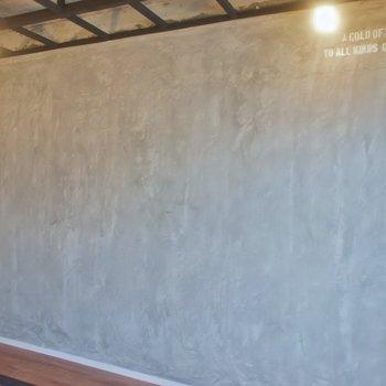 コンクリート打ちっぱなしの壁には、、、