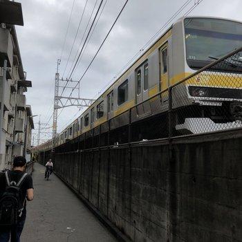 駅に向かう道は、こんなに電車近い!