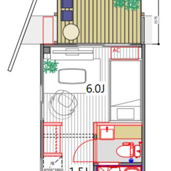 なんとウッドデッキが出来ますよ!※キッチンと冷蔵庫置場の位置が逆になります