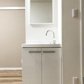 このタイプのお部屋には珍しく独立洗面台付きなんですよ〜。