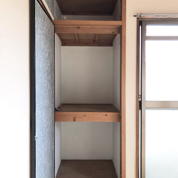 【2面採光和室】ほっそりの押入れ。荷物は少なめに。