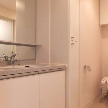 ここが脱衣スペース。※写真は4階の同間取り別部屋のものです
