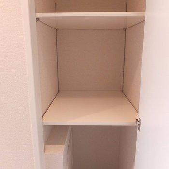 シューズボックスの向かいにも収納あり。掃除機とか入れられそう。※写真は4階の同間取り別部屋のものです