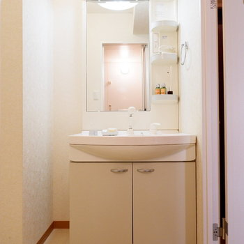 脱衣所には洗面台と※家具はサンプルです