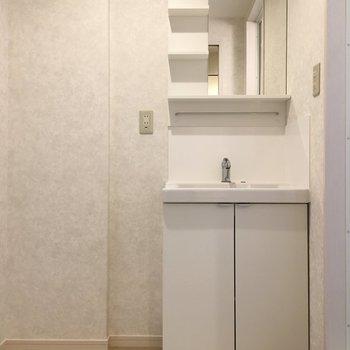 洗面台はふつうのタイプ。ホワイトでシンプルな形です。