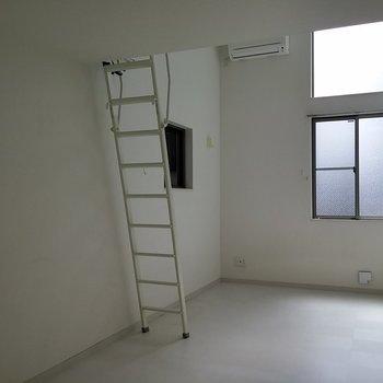 気になるのはやっぱりはしご。※写真は1階の反転間取り別部屋です。