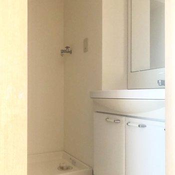 脱衣所はすっきりコンパクト。(※写真は清掃前のものです)※写真は3階の同間取り別部屋のものです