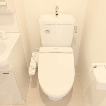 トイレはウォシュレット付。※同じ間取りの別部屋