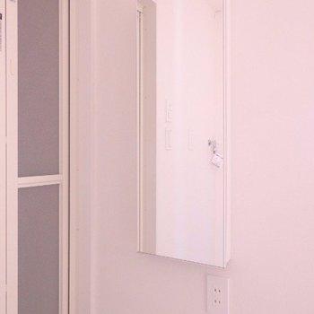 鏡の中に収納出来ちゃうんです♪※写真は4階の同間取り別部屋のものです