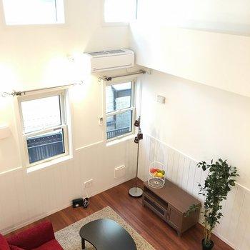 高いですね!天井もかわいい。※写真は1階の反転間取りの別部屋です。