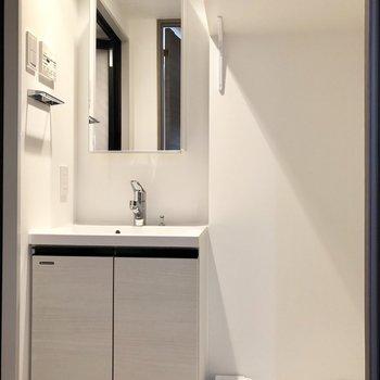 大きな鏡が付いた独立洗面台。隣に洗濯パンがありました。