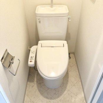 トイレは個室。ウォッシュレット付きが嬉しい。※写真は反転間取りの6階別部屋、クリーニング前のものです。