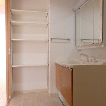 棚が付いている洗面脱衣所。ありがたいですね ※写真はどう間取りの別部屋です。 ※写真はどう間取りの別部屋です。