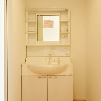 リビングからすぐそこに、独立洗面台※写真は別棟の同間取り別部屋のものです